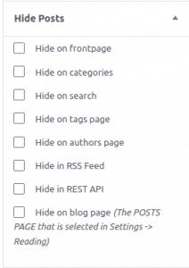 Wordpress Hide Posts